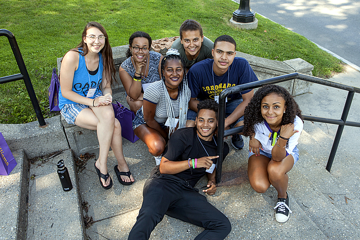 """First Gen"" Students on Hopkins Gate Steps"