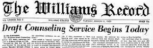 "Williams Record, March 11, 1969, ""Draft Counseling Service Begins Today"""