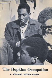 Hopkins Administration Building Occupation Williams Record Report Pamphlet showing three African American students 4/5-8/69