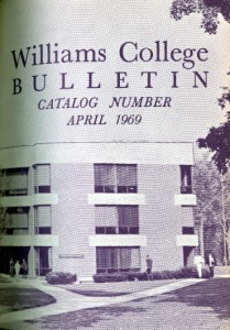 Picture of front page of Williams College Bulletin, 1969, with a picture of Greylock Quad