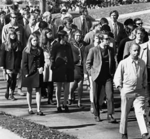 Anti-War Marchers, 1969, Main Street, Williamstown, Massachusetts
