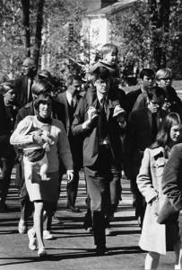 Vietnam War Moratorium Marchers, Fall 1969. Pictured: Prof. Kurt Tauber, Political Science, John Hitchins, '70
