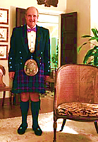 Gates Hawn - Scotch tartan with purple tie