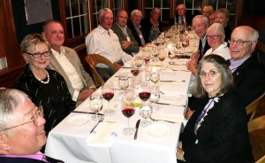 Williams classmates and wives at Saturday night Class of 1970 dinner, dinner, Mezze Restaurant, Williamstown, Massachusetts, during Williams mini-reunion, September 29, 2018