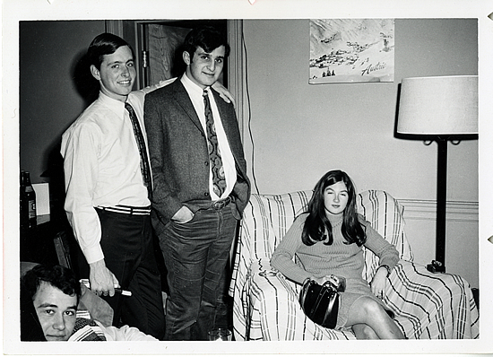 Ted Turk, Gerry Stoltz, Un-ID'd Williams classmate, and date. Prospect Dorm Room (?), date unknown