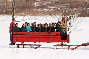 Winter Study: Students on sleigh ride in the snow near Williamstown while studying Tolstoy, War and Peace