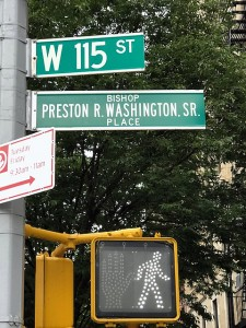 Picture of Bishop Preston Washington Street sign, West 115th Street, New York City