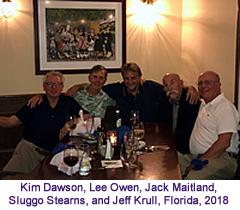 Kim Dawson, Lew Owen, Jack Maitland, Sluggo Stearns, Jeff Krull, Florida dinner, 2018